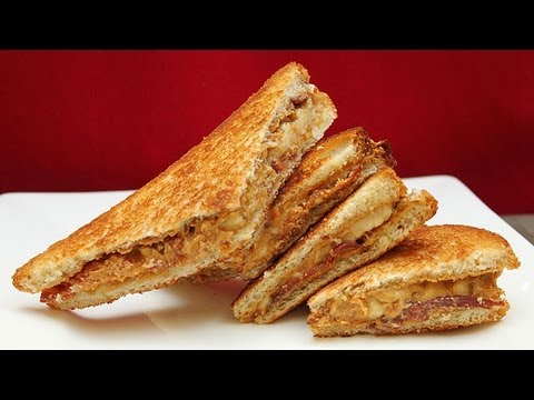 The Elvis Fried Peanut Butter Banana W Bacon Honey Youtube