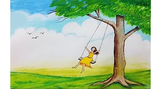 How to draw scenery of a girl swing on tree step by step
