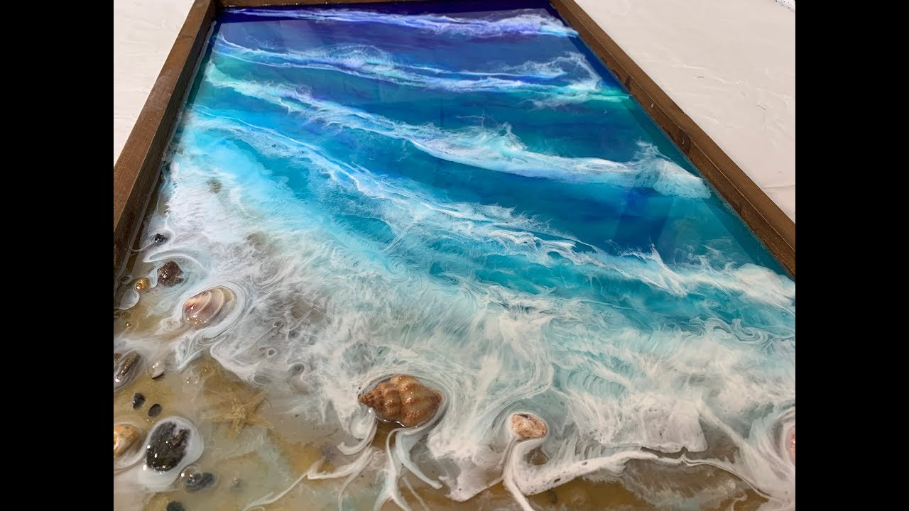 107 Epoxy Resin Art Step By Step Tutorial Ocean Beach Sand Movement