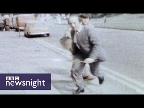 Antiques dealer hits Roger Cook with metal bar - Newsnight archives (1981)