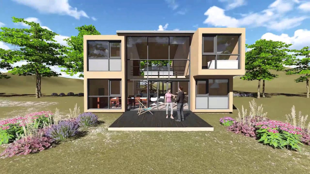 Visuel realiste maison container t4 ref co 10152 d youtube - Maison container ...