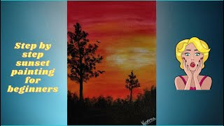 Sunset Acrylic Painting | Step By Step Tutorial | Sunset Painting In Ten Mins | Beautiful Sunset screenshot 3