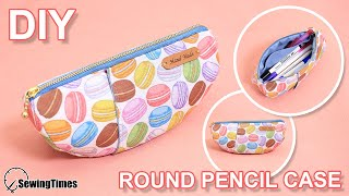 DIY ROUND PENCIL CASE | Zippered pouch makeup bag Tutorial & Sewing Pattern [sewingtimes]
