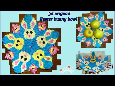 3d origami Easter bunny bowl. DIY.