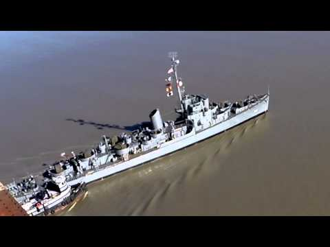 Destroyer Escort USS Slater on the Hudson River Under the Walkway 4-6-14