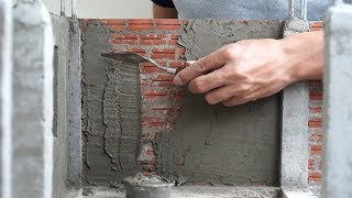 HOW TO BUILD A BRICK WALL: BRICKLAYING: plaster and How To Make the Floor  - DIY Mini House #3