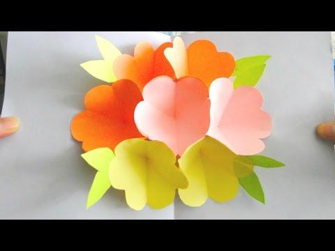 3D Flower Pop Up Card   Handmade Mother's Day Card
