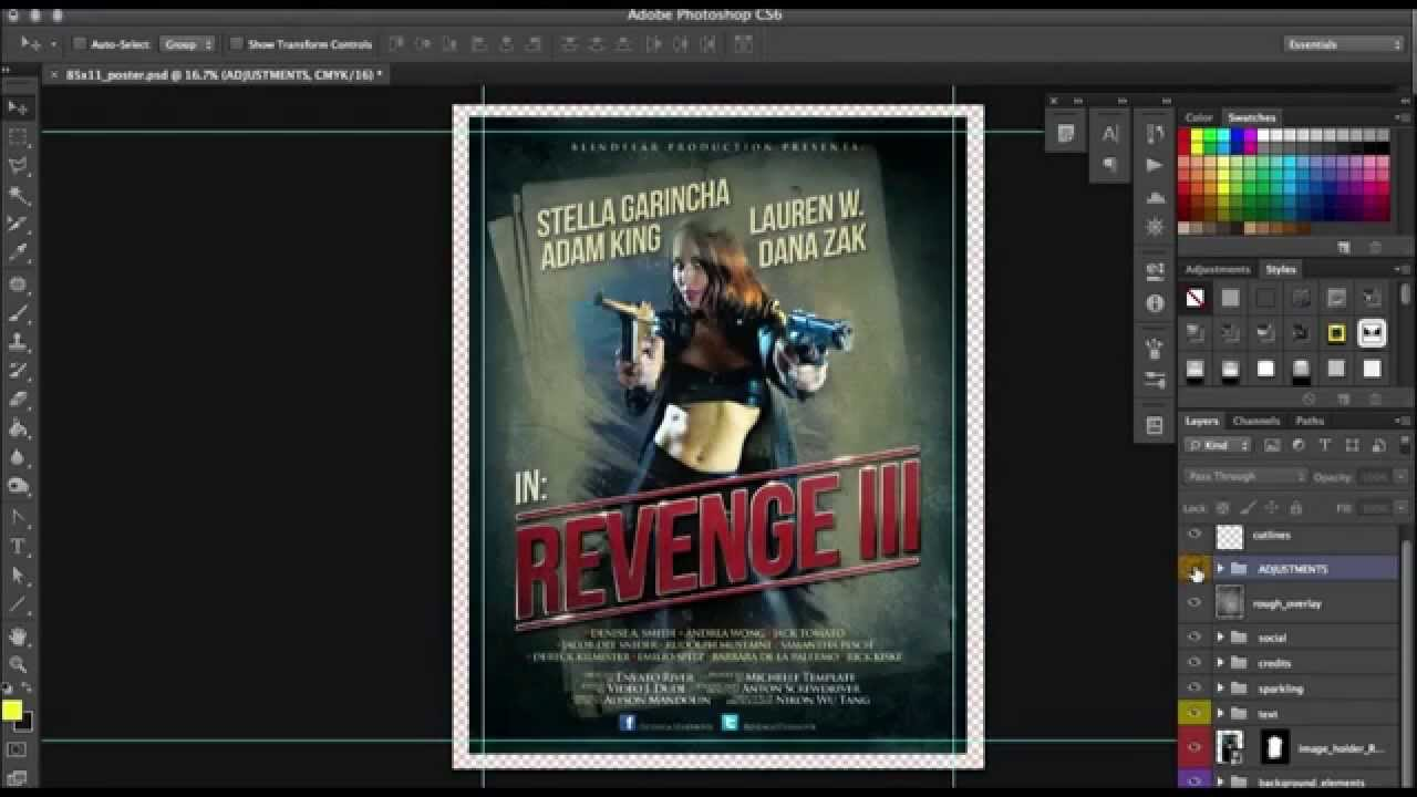 How to customize a hot film poster template in Photoshop - Tutorial ...