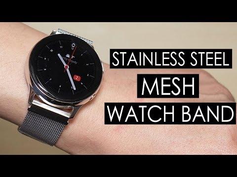 Samsung Galaxy Watch Active 2 Silver Stainless Steel Mesh Watch Band (Kartice) [4K]