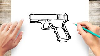 How to Draw Pistol Step by Step