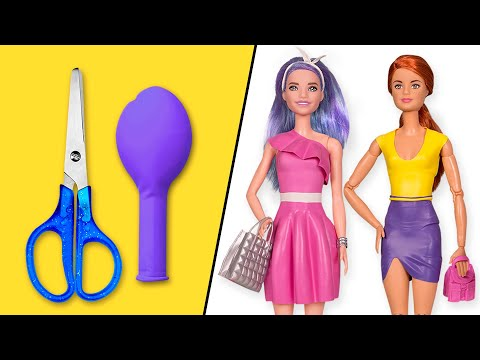 👗-diy-barbie-dresses-with-balloons-easy-no-sew-clothes-for-barbies-||-barbie-doll-hacks