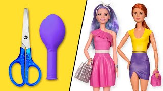 👗 DIY Barbie Dresses with Balloons Easy No Sew Clothes for Barbies || BARBIE DOLL HACKS