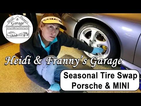 Seasonal Tire Swap Porsche Turbo Ceramic Brakes and MINI Cooper