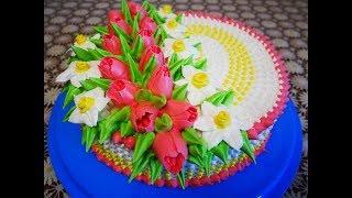 БИСКВИТНЫЙ лимонный ТОРТ со СЛИВОЧНЫМ кремом Торт рецепт МК тюльпан МК нарцисс Украшение тортов