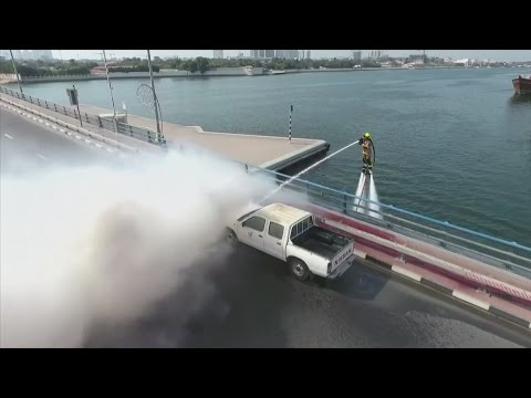 Dubai firefighters launch water jetpack