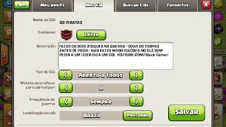 Clash of Clans mostrando o clã que eu criei e um