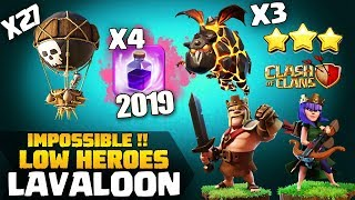 Sui Heroes - Lavaloon With LOW LEVEL HEROES : 3 STAR TH9 STRONG ATTACK STRATEGY Clash of Clans