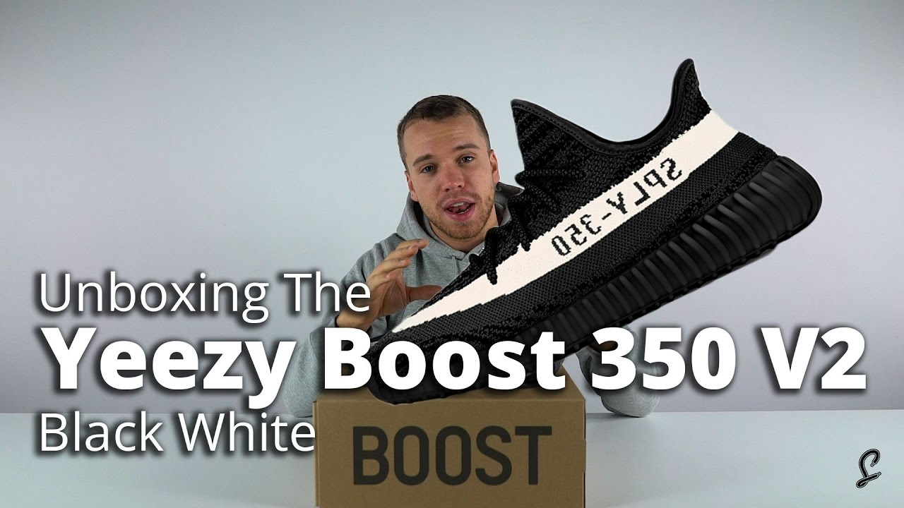 2ecf38522fac7 Yeezy Boost 350 V2 Black White Review   Unboxing - YouTube