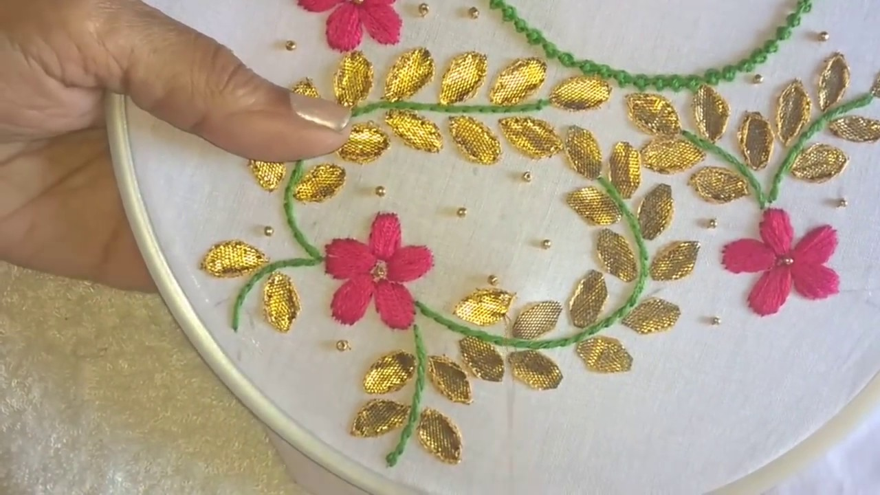 Hand Embroidery Gottapatti Work Neck Design For Dresses And Blouses