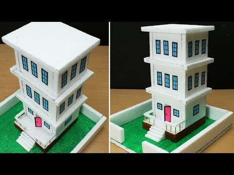Thermocol Building Making- Easy Craft- Make Beautiful House from Thermocol