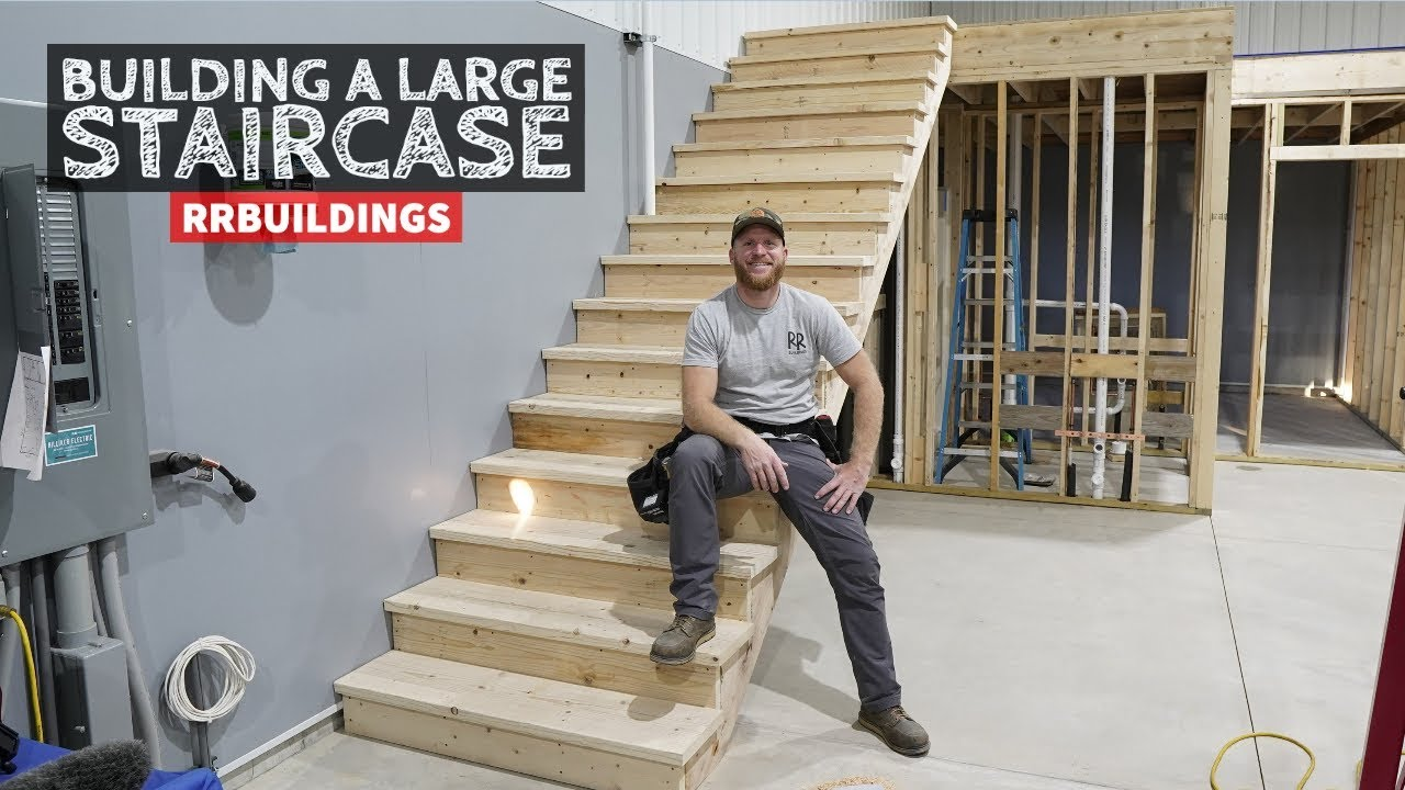Building A Large Staircase And How To Layout A Stair Stringer   Design Your Own Staircase   Metal   Stairway   Painted   Handrail   Grand Entrance