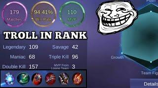 unkillable troll build😂 | lifesteal only build | mobile legends bang bang
