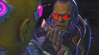 Injustice 2 - Darkseid Vs Brainiac - All Intro Dialogue/All Clash Quotes, Super Moves
