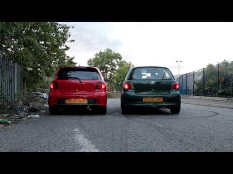 HKS Hi-Power vs. custom exhaust - Yaris sound check