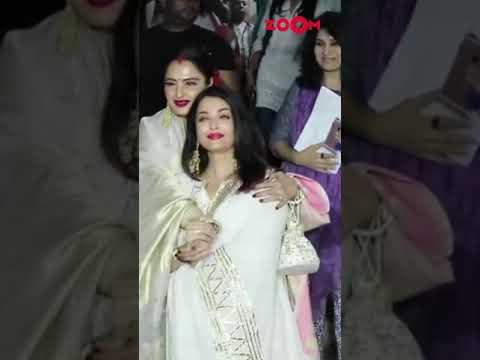 Rekha and Aishwarya Rai pose together for paparazzi   #Shorts