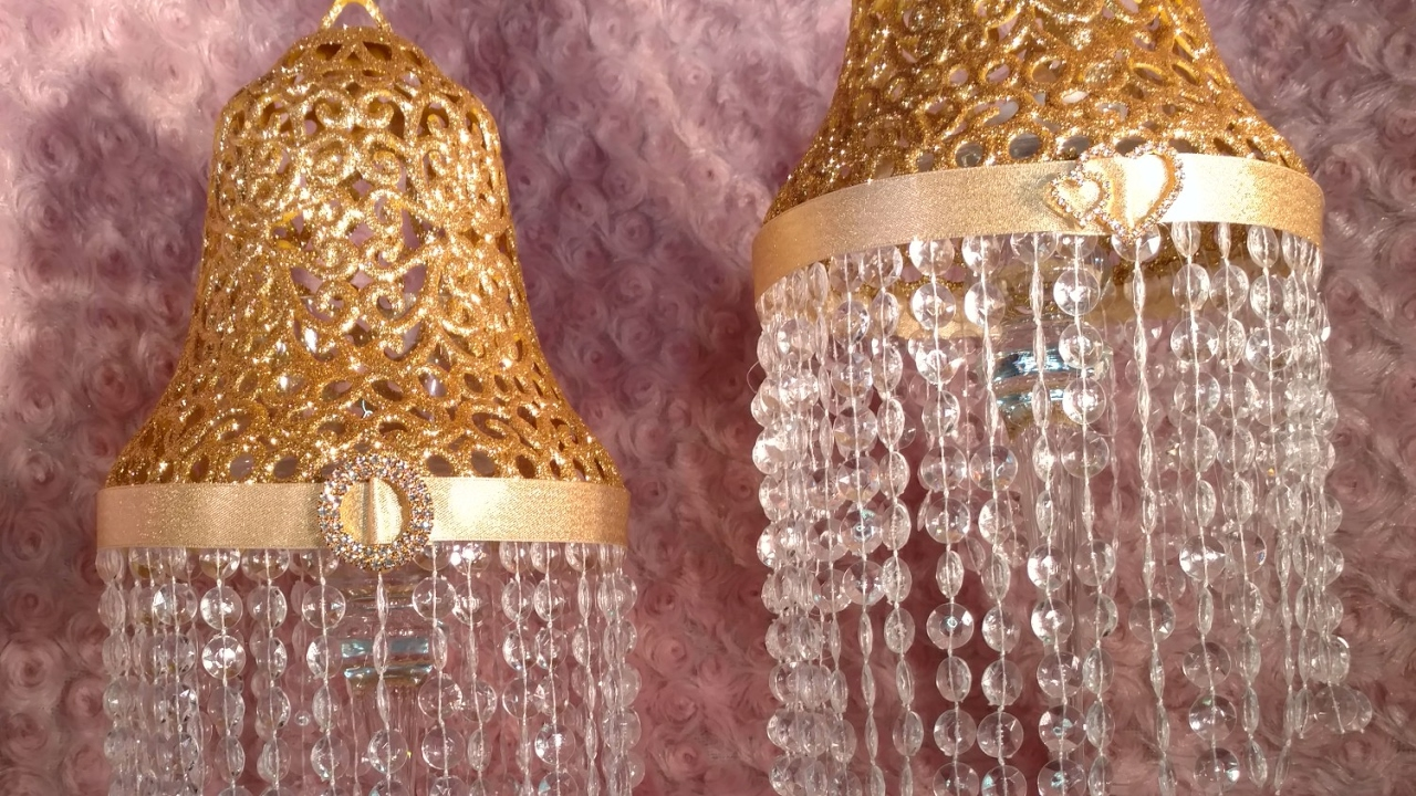 DIY Dollar Tree TableTop Chandelier Lamp