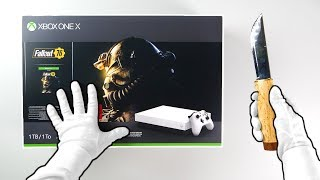 "Xbox One X ""Fallout 76"" Console Unboxing (White Special Edition Color)"