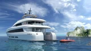 Mini submarine lauched from Curvelle quaranta catamaran motor yacht