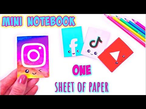 DIY MINI NOTEBOOK ONE SHEET OF PAPER - DIY Social Media School Supplies