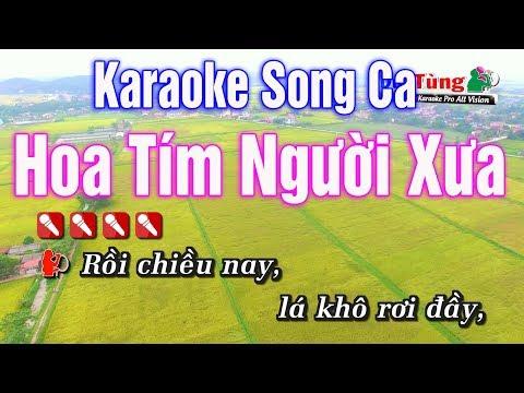 Karaoke || Hoa Tím Người Xưa Song Ca || Nhạc Sống Duy Tùng