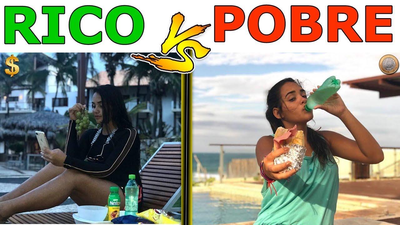 Rico vs pobre na piscina - YouTube