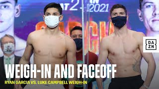 Ryan Garcia & Luke Campbell Weigh-In, Face-Off Ahead of Their Lightweight Clash