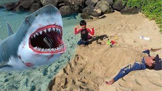 サメに食べられるー!! ビーチでパパを砂に埋めたよ 人魚つり ワニが出た!! おゆうぎ こうくんねみちゃん thumbnail