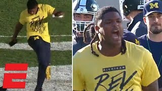 Michigan player ruins Michigan State logo after pregame scuffle