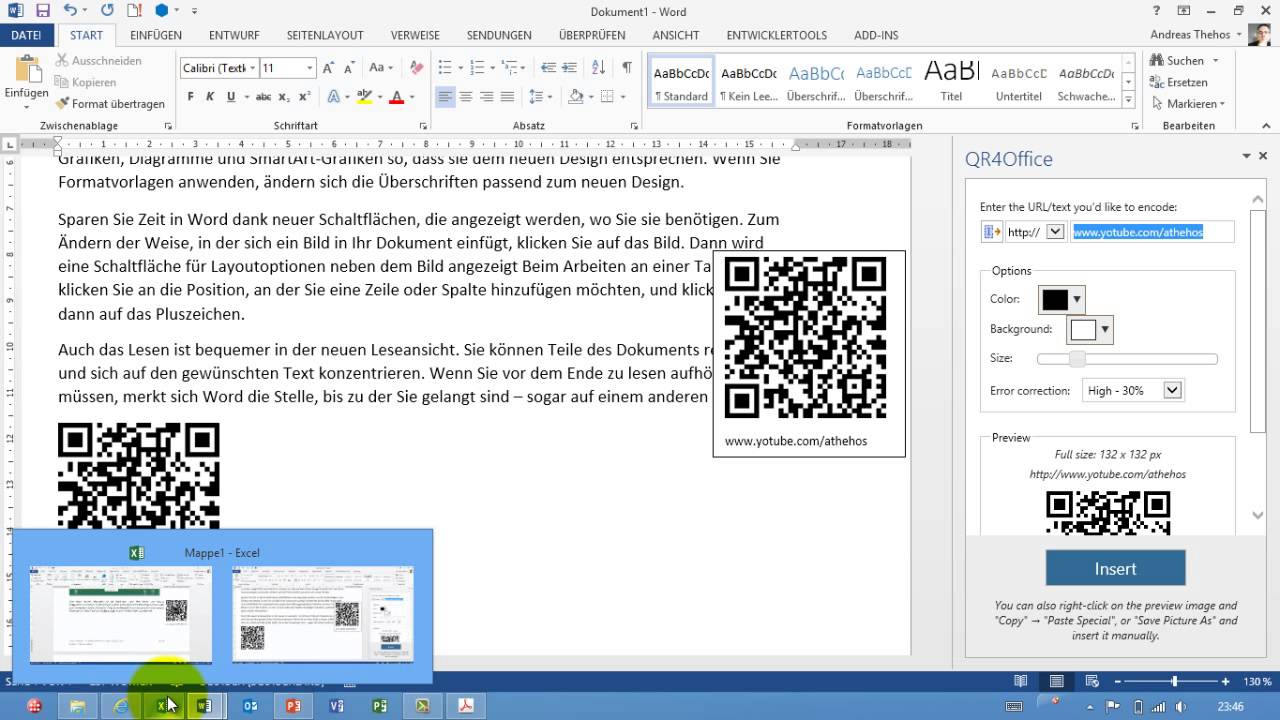 Office 2013 Qr Codes Mit Qr4office Erzeugen Apps For Office