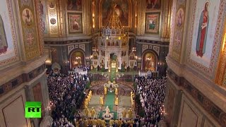 LIVE  Orthodox Christmas service in Moscow \ Putin attends service in Veliky Novgorod (Mixed feed)
