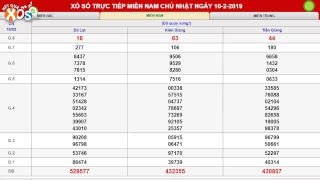 Xổ Số Miền Nam 10/02/2019. Trực Tiếp XSMN Đà Lạt, Kiên Giang, Tiền Giang