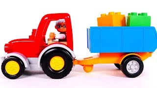 Learn Colors with Tractor Building Blocks Playset for Kids and Yippee Toys