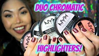 NYX Duo Chromatic Illuminating Powders REVIEW & SWATCHES!