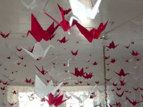 Origami Hanging Mobiles With Red Amp White Paper Cranes