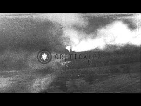 German Messerschmitt Bf-110 aircraft attack Allied Ground targets. Allied aircraf...HD Stock Footage