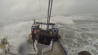 Greymouth bar crossing in rough seas