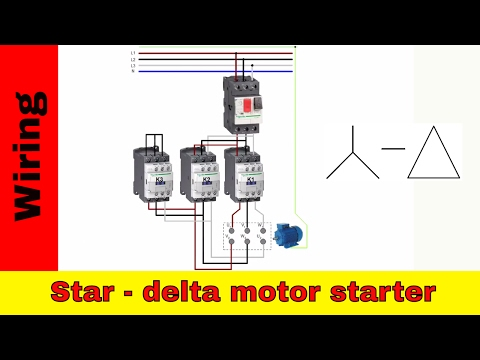 How to wire star-delta motor starter. Power and control circuit.