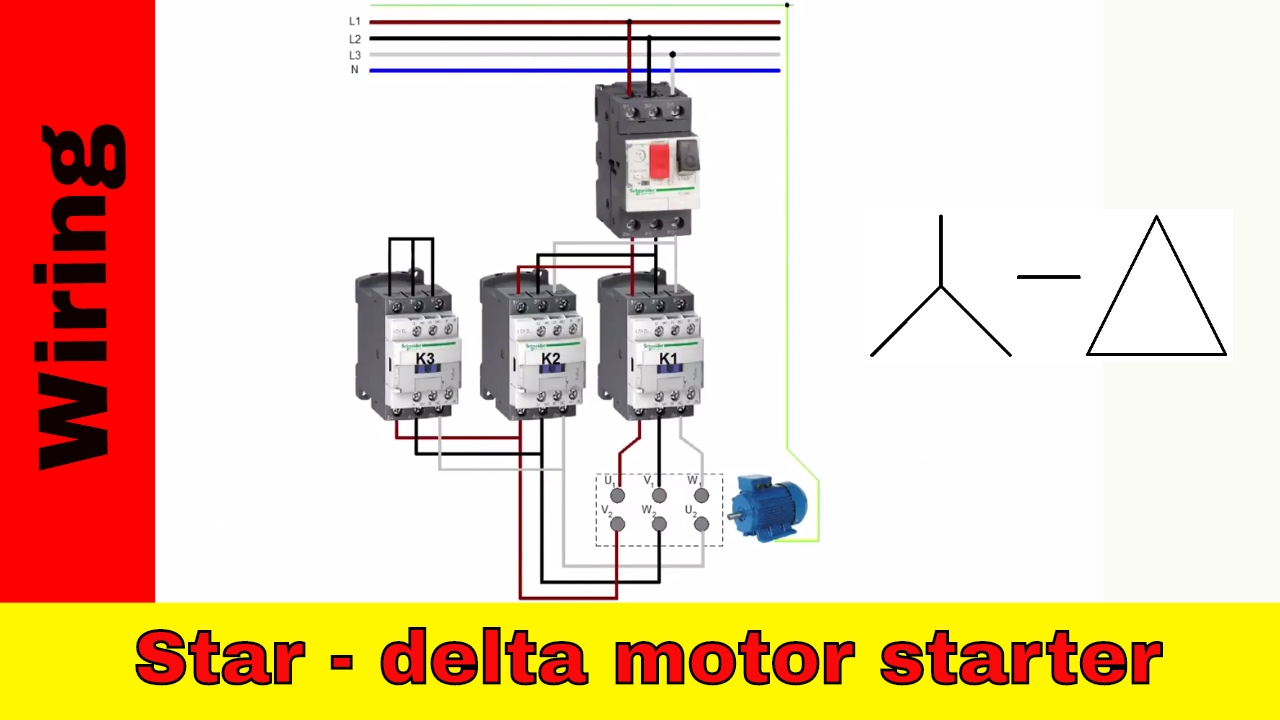 how to wire star delta motor starter power and control circuit rh youtube com star delta starter connection diagram with timer star delta motor starter wiring diagram pdf
