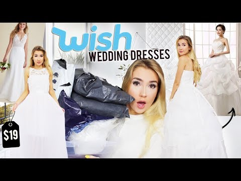 TRYING ON WEDDING DRESSES FROM WISH.COM!!