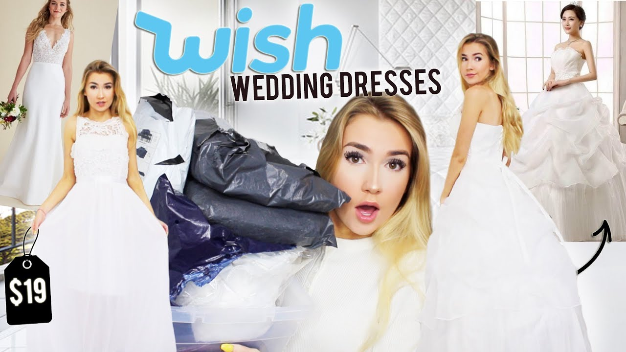 c53060d49ba TRYING ON WEDDING DRESSES FROM WISH.COM!! - YouTube